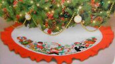 """Vtg Santa's Best Christmas Tree Skirt Table Cover 42"""" Critters Snowman Penguin"""