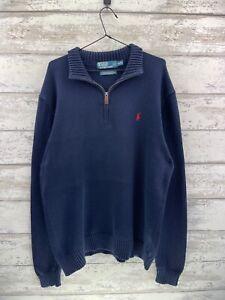 Polo Ralph Lauren Quarter Zip Jumper - Blue - Mens XL - RV67