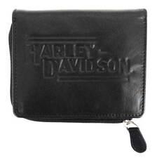 Harley-Davidson Mens Currency & Coin Leather Slimfold Zip Wallet IM2152L-BLACK