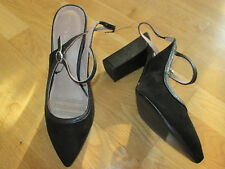 next black faux suede high slingback court shoes size 4 eu 37 brand new with tag