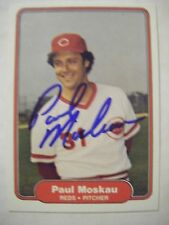 PAUL MOSKAU signed REDS 1982 Fleer baseball card AUTO AZUSA PACIFIC PIRATES CUBS