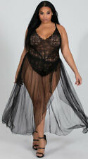 Womens Plus Size Mosaic Lace Teddy And Mesh Skirt