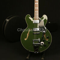 Top Quality Olive Green 345 Semi Hollow Body Electric Guitar Bigsby Bridge