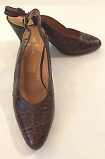 Vtg Ralph Lauren wmns sz 6 B Brown alligator slingback heels Made in Italy EUC