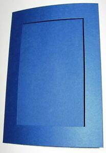 "Craft Creations 5 Brt Blue double fold Rectangular Aperture cards 8""x 6"" + Envs"