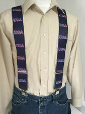 "New, Men's, USA on Navy Blue  2"", Adj. Suspenders / Braces, Made in the USA"