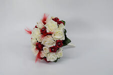 Red and Ivory Wedding Bouquet with Feathers and Diamante - Bride, Bridesmaid
