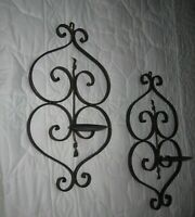 Set of 2=Vtg. Wrought Iron Wall Sconce Pillar Candle Holders Gothic Rustic Decor
