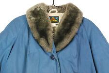 Vintage 70s Eddie Bauer Light Blue Goose Down Insulated Puffer Jacket Fur Womens