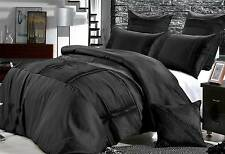 KING size black Quilt Cover Set  / 3pcs pleated pintucks doona cover set