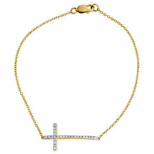 """Diamond Sideways Cross Bracelet Ladies 10K Yellow Gold Round Charm 0.17 Tcw. 7"""""""