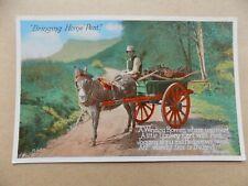 Bringing Home Peat Ireland Farmer Donkey & Cart Old Unposted Postcard g