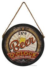 "Retro 15.5"" Beer Keg Lid ""It's Beer O'clock"" Bar Decor Wall Sign Plaque"