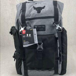 $135 Under Armour Project Rock Vanish Regiment Backpack The Rock Bag Grey Black