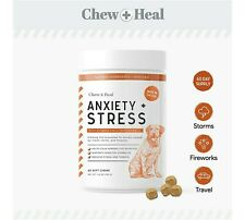 Chew + Heal Calming Dog Anxiety Supplements - 60 Soft Chews Stress Relief *NEW*