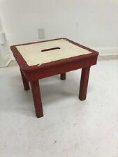 Vintage WOOD STEP STOOL milking country foot rest low farmhouse 50s plant stand