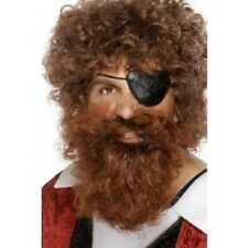 Mens Pirate Fancy Dress Beard Brown Bierd Curly New by Smiffys