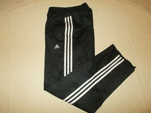 ADIDAS CLIMAPROOF BLACK W/WHITE STRIPES MESH LINED ATHLETIC PANTS MENS LARGE EXC