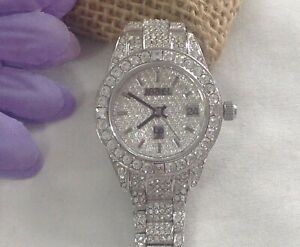 JAREL Lucien Piccard Women's Silver-Tone BLING Watch with Swarovski Crystals