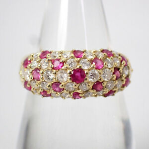 [Used] K18 Ruby / Diamond Pave Ring US size6.5-7 [g512-5]
