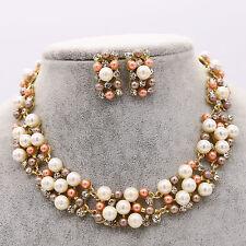 Wedding Bride Bridesmaid Pearl Crystal Pendent Necklace Earrings Set Jewelry UK