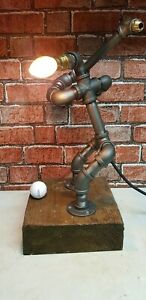 Ideal present retro Quirky rustic steampunk golf pipe lamp industrial