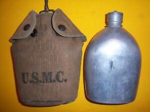 RARE 1913 USMC STENCILED DEPOT MODIFIED EA SNAP CANTEEN COVER & M1910 CANTEEN