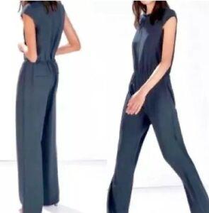 Zara Cap Sleeve Dark Green Jumpsuit NWT Small