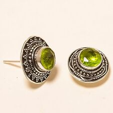 "EXCELLENT PERIDOT GEMSTONE ETHNIC STUD Jewelry EARRING 0.67"" E-119"