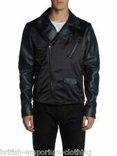 "DIESEL BLACK GOLD PELLE NERA ""jesang"" Giacca ita50 / UK40 MADE IN ITALY NUOVO CON ETICHETTA"