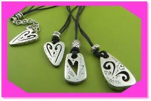 BRIGHTON BRAZILIAN HEART Black TRIPLE TRIO Cord Silver NECKLACE Nwotag