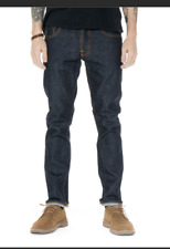 NUDIE JEANS GRIM TIM DRY GREENCAST button fly relax  slim fit jeans 30
