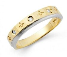 14k Solid Yellow and White Gold Band Ring with Manmade Diamonds