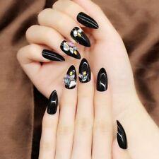 Fake Nails 3d Pointed Press On Fingernail Art Tips Elegant Shiny Manicure 24pcs