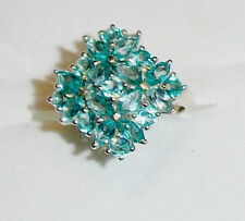 Ocean Blue Apatite Marquise Cluster Ring, Platinum / Silver, Size 6, 3.10(TCW)