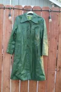 Women's green leather trench coat vintage