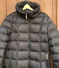 Women's Nautica Large L Brown Long Full Zipper Down Puffer Winter Jacket Coat VG
