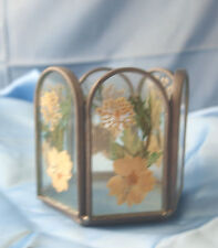 Vintage Dried Flowers Under Glass6 Sided Votive Candle Holder