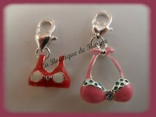 LOT 2 CHARMS BRELOQUE A FERMOIR METAL ARGENTE MAILLOTS ROUGE / ROSE BIJOUX AE4