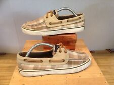 SPERRY TOP-SIDER Womens 7 Brown Textile Plaid Moc Toe Boat Shoe TIe Loafers
