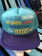 NOS Vtg LOW DOWN NO GOOD CHEAP PROPOSITIONS Novelty Trucker Mesh Snapback Hat