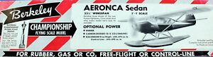 "Berkeley AERONCA SEDAN PLAN + PARTS PATTERNS to Build 35"" FF / RC Model Airplane"