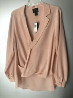 Magaschoni Blush Rose Georgette Silk Drape V-Neck Collar Hi-Lo Blouse Top M, L