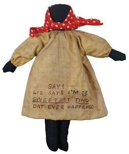 """Antique R.F. Outcault Black & Yellow Kid Folk Art Americana Cloth Doll C&W 11"""""""
