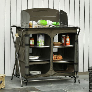 Outsunny Camping Cupboard Foldable Camping Kitchen Storage Unit w/ Windshield