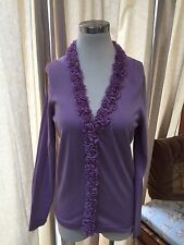 NWT Talbots Lilac Purple Rosette Trim Cardigan Sweater Petite Medium