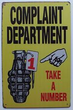 Complaint Department Army, Airsoft, Paintball Novelty Wall, Door Metal Sign