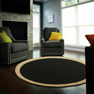 Rugs Jute Black Round Reversible 100%Natural Hand Woven Braided Home Decor Rug