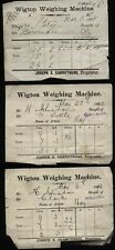 1885-92 Three WIGTON WEIGHING MACHINE tickets -Joseph S Carruthers