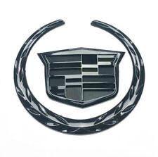 "Black Chrome Front Grille 6"" Emblem Hood Badge Logo Fit For Cadillac CTS STS DTS"